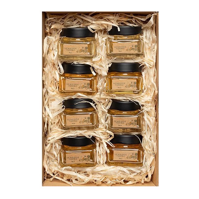 "Eight Flavor Honey Sample Box Set 2 - ""ACACIA, LINDEN, ROSEMARY, BLOSSOM, WILDFLOWER x2, MOUNTAIN, HIGH MOUNTAIN"""