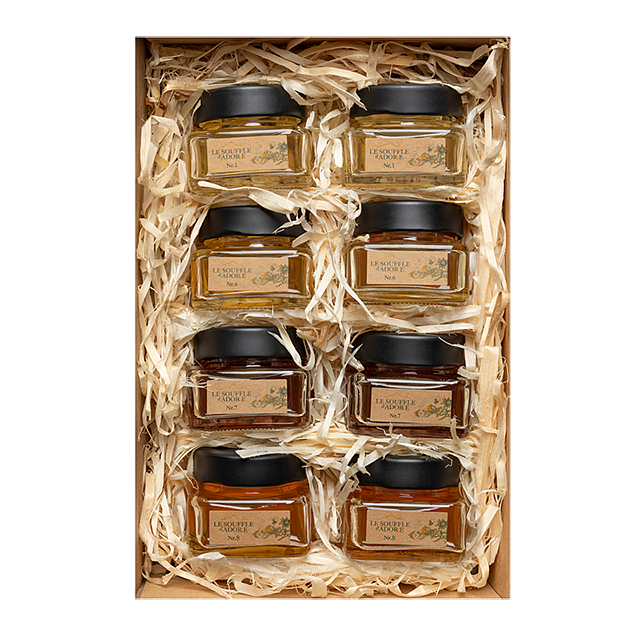 "Eight Flavor Honey Sample Box Set 1 - ""ACACIA, LINDEN, ROSEMARY, BLOSSOM, WILDFLOWER, MOUNTAIN, HIGH MOUNTAIN Sample Box"""