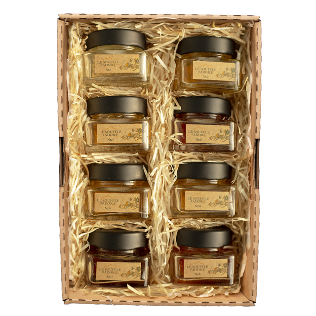 "Seven Flavor Honey Sample Box Set 2 - ""ACACIA, LINDEN, ROSEMARY, BLOSSOM, WILDFLOWER x2, MOUNTAIN, HIGH MOUNTAIN"""