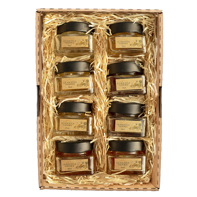 "Seven Flavor Honey Sample Box Set 1 - ""ACACIA, LINDEN, ROSEMARY, BLOSSOM, WILDFLOWER, MOUNTAIN, HIGH MOUNTAIN Sample Box"""