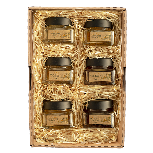"Six Flavor Honey Sample Box Set 1 - ""ACACIA, LINDEN, ROSEMARY, BLOSSOM, WILDFLOWER, MOUNTAIN Sample Box"""
