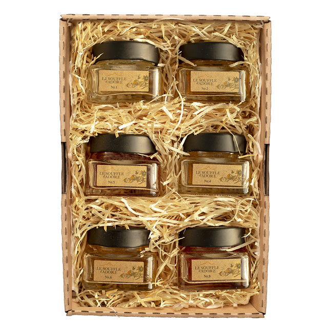 Six Flavor Honey Sample Box Set 2 - ACACIA, LINDEN, ROSEMARY, BLOSSOM, WILDFLOWER, HIGH MOUNTAIN Sample Box""